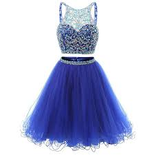 jewel neck illusion sequins crystal prom dress shining two piece