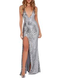 party sequin high slit deep v prom dress oasap com