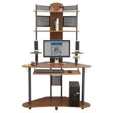 arch corner desk with multi level storage pewter teak target