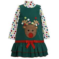 amazon com bonnie jean girls button reindeer christmas dress