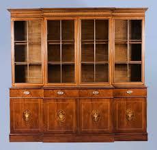 Mahogany Bookcase Antique Style English Mahogany Breakfront Bookcase