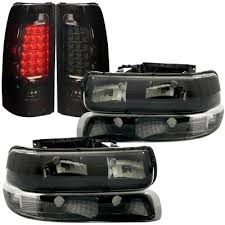 2001 silverado tail lights chevy silverado 2500hd 2001 2002 black smoked headlights set and led