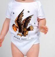 rockabilly baby clothes sailor jerry bombs away buzzard tattoo