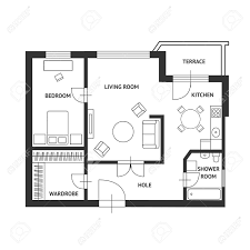 vector illustration architect plan of house with a furniture