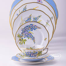 place settings place settings with tea cup 8 pieces bluebonnet herend
