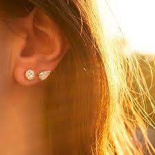 earrings on ear vintage pear shaped diamond stud earrings