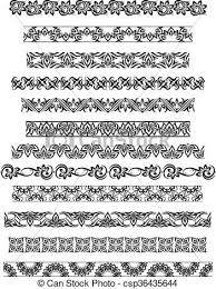 thai ornament border patterns with vector thai floral eps vector