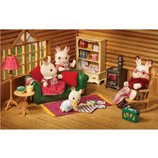 Buy Sylvanian Families Log Cabin Living Room Furniture Set From - Sylvanian families living room set