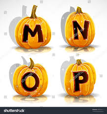 happy halloween font cut out pumpkin stock vector 294569111
