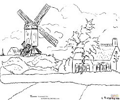 windmill at knock belgium by camille pissarro coloring page free