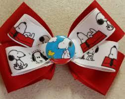 snoopy ribbon snoopy bows etsy