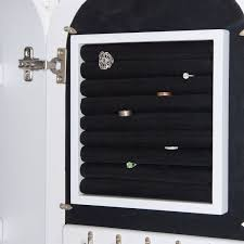 Black Armoire Wall Mounted Jewelry Cabinet Mirror Armoire With Gloss White