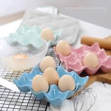 ceramic egg tray food grade 9 cup capacity pretty ceramic egg tray crate porcelain