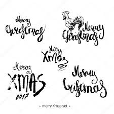 modern hand drawn merry christmas 2017 lettering set with sketch