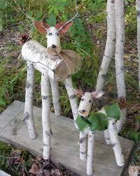 Log Decor Reindeer Birch Log Deer Garden Holiday Decor By Heavenlyholidays
