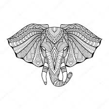 drawing unique ethnic elephant head for print pattern logo icon