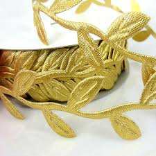 leaf ribbon 1 25mm width satin ribbon gold leaf leaves for diy gift