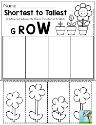shortest to tallest perfect for a gardening unit in preschool
