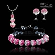 silver pink necklace images Shamballa jewellery set shamballa bracelet gradient hot pink white jpg