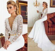 handmade long sleeve v neck mermaid u0026 trumpet wedding dresses ebay