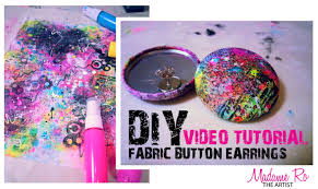 diy button earrings mixed media meets retro 80 s inspired diy fabric button