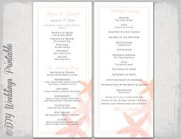 order of ceremony for wedding program wedding program template coral starfish