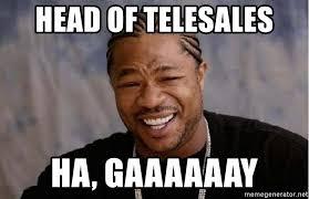 Gaaaaaay Meme - head of telesales ha gaaaaaay yo dawg meme generator