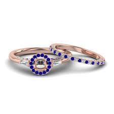 rose gold wedding set amethyst 14k rose gold bezel blue sapphire wedding sets engagement rings