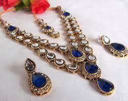 blue crystal necklace set images Mesmeric navy blue necklace set jpg