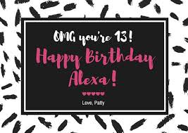 black and white 13th birthday card templates by canva