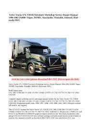 all volvo truck models volvo trucks vn vhd8 version1 workshop service repair manual