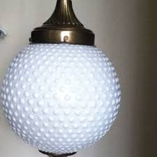 Retro Hanging Light Fixtures Vintage White Milk Glass Hobnail Globe Hanging Light Fixture L