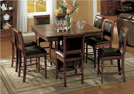 Elegant Rustic Square Kitchen Table Oakmeadow Counter Height - Bar height dining table with 8 chairs