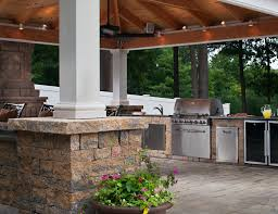look great backyard covered patio grey natural stone patio floor