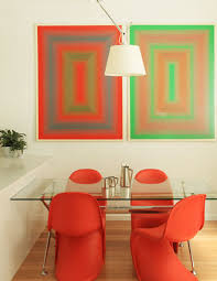 Colorful Dining Room by Minimalist Dining Room With Red Arm Chairs Glass Dining Table
