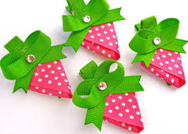 ribbon hair bows one strawberry hair bow clip party favorspink white green