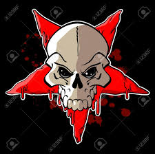 halloween stars background skull on inverted red star on a black background royalty free