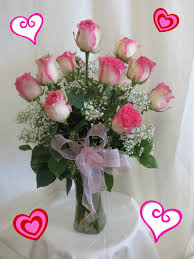 roses delivery 1 dozen pretty pink roses in vase valentines day delivery