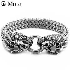 chain link bracelet charms images Chimdou punk silver color mens chain link bracelets 316l stainless jpg