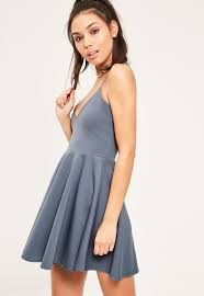 blue strappy skater dress missguided