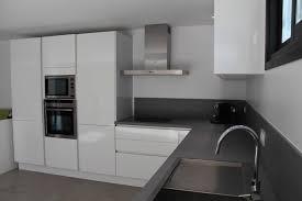 cuisine blanc laqué plan de travail blanc laque cuisine beige mur collection avec