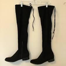 target womens boots zipper 62 target shoes black thigh high boots from s closet