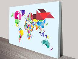 Wall Art World Map by Tangram Abstract World Map By Michael Tompsett