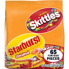 basketball halloween basket skittles and starburst original candy bag 65 fun size pieces