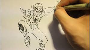 drawn spider man body pencil color drawn spider man body