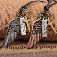 charm leather necklace images Buy vintage angel wing men leather necklace jpg