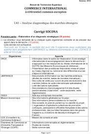 chambre de commerce française à l étranger u41 analyse diagnostique des marchés étrangers corrigé socona pdf