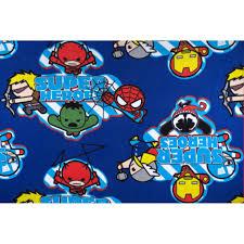 marvel kawaii fleece super heroes blue discount designer fabric