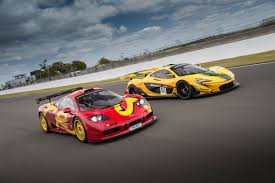 mclaren p1 crash test like father like son mclaren f1 gtr vs mclaren p1 gtr on track