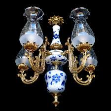 Blue Delft Chandelier Antique1930s Deco Gold Bronze Blue Delft Chandelier 5
